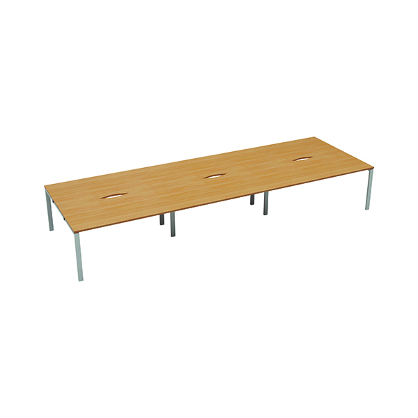 Jemini 6 Person Bench Desk 1400x800mm Beech/White
