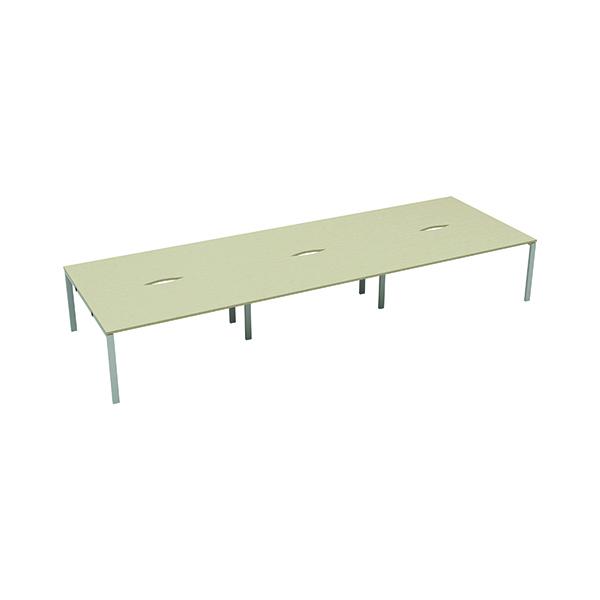 Jemini 6 Person Bench Desk 1400x800mm Maple/White