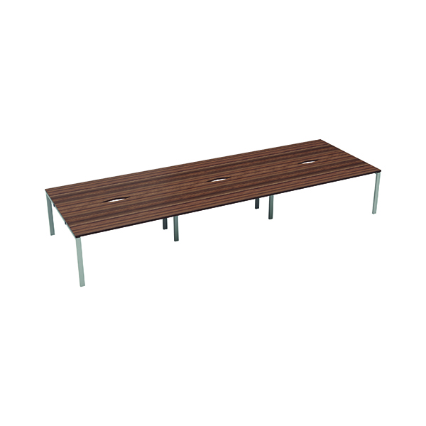 Jemini 6 Person Bench Desk 1400x800mm Dark Walnut/White