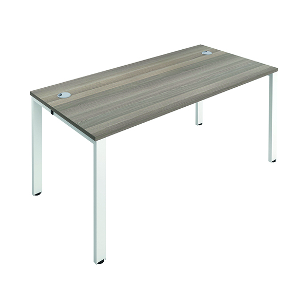 Jemini 1 Person Bench Desk 1600x800mm Grey Oak/White
