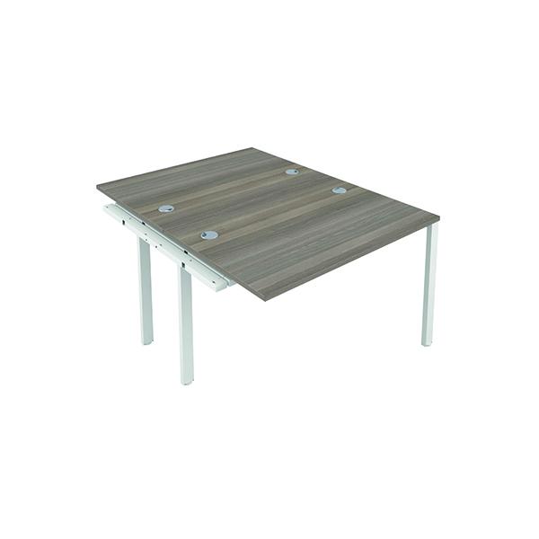 Jemini 2 Person Extension Bench 1600x800mm Grey Oak/White