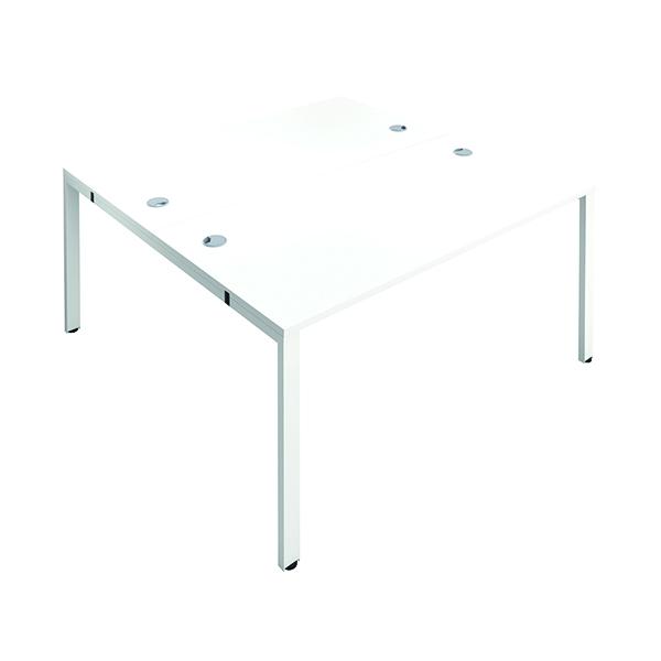 Jemini 2 Person Bench Desk 1600x800mm White/White