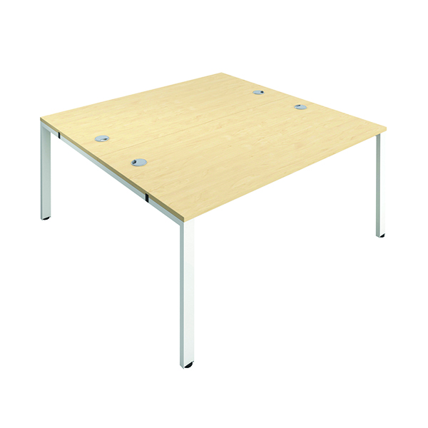Jemini 2 Person Bench Desk 1600x800mm Maple/White