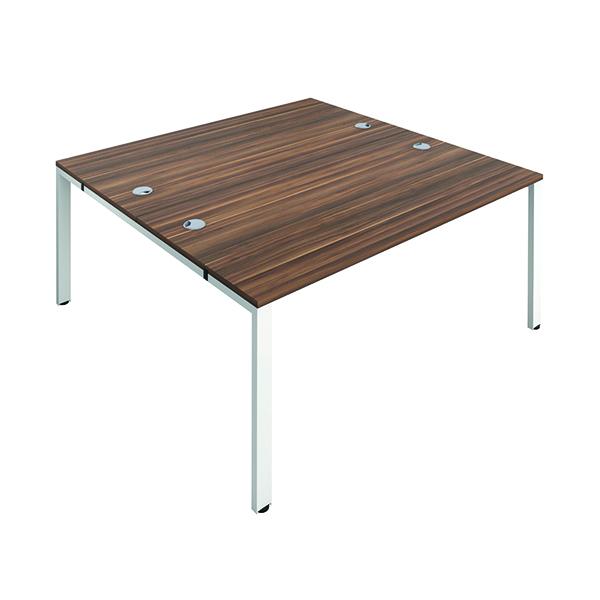 Jemini 2 Person Bench Desk 1600x800mm Dark Walnut/White