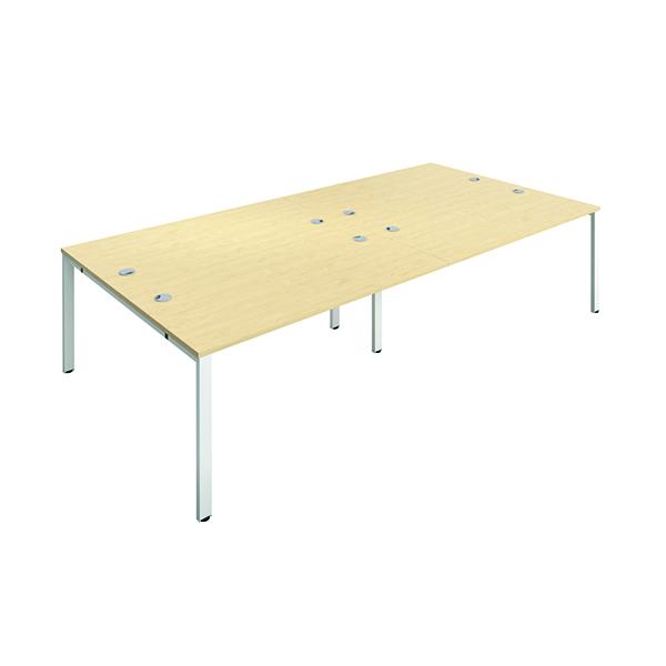 Jemini 4 Person Bench Desk 1600x800mm Maple/White