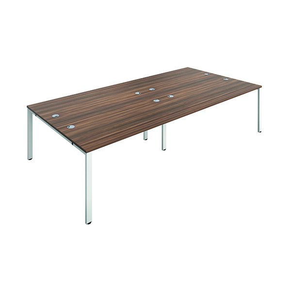 Jemini 4 Person Bench Desk 1600x800mm Dark Walnut/White