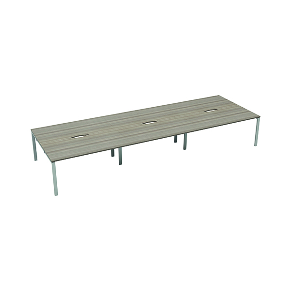 Jemini 6 Person Bench Desk 1600x800mm Grey Oak/White