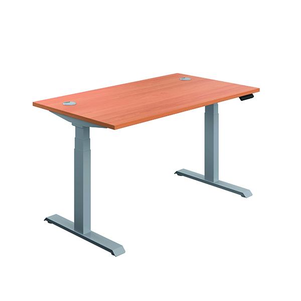 Jemini Sit Stand Desk 1200x800mm Beech/Silver