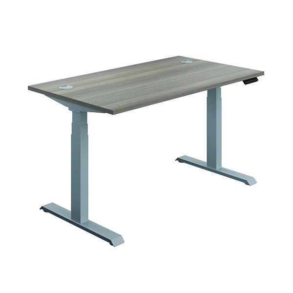 Jemini Sit Stand Desk 1200x800mm Grey Oak/Silver