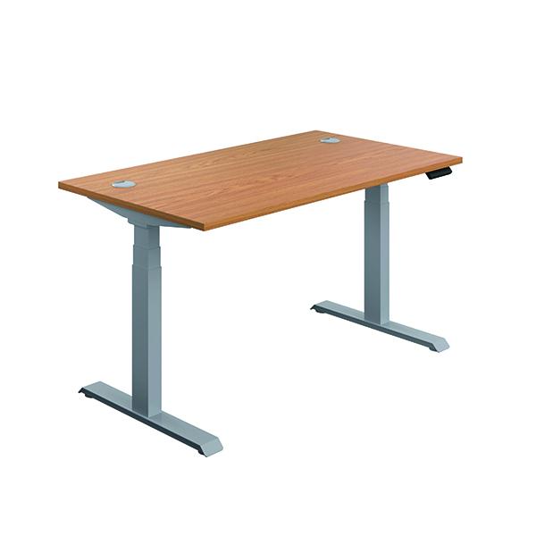 Jemini Sit Stand Desk 1400x800mm Nova Oak/Silver