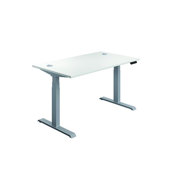 Jemini Sit Stand Desk 1400x800mm White/Silver