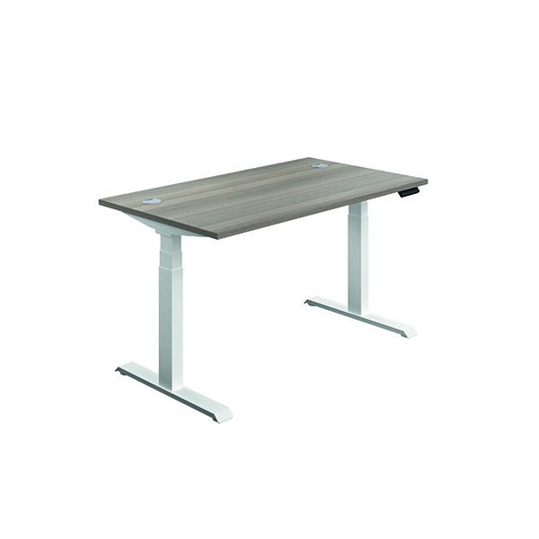 Jemini Sit Stand Desk 1400x800mm Grey Oak/White