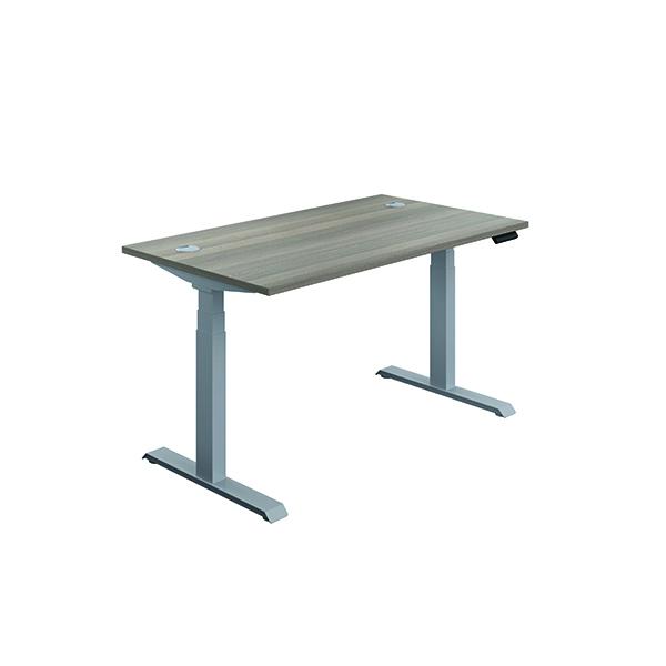 Jemini Sit Stand Desk 1600x800mm Grey Oak/Silver