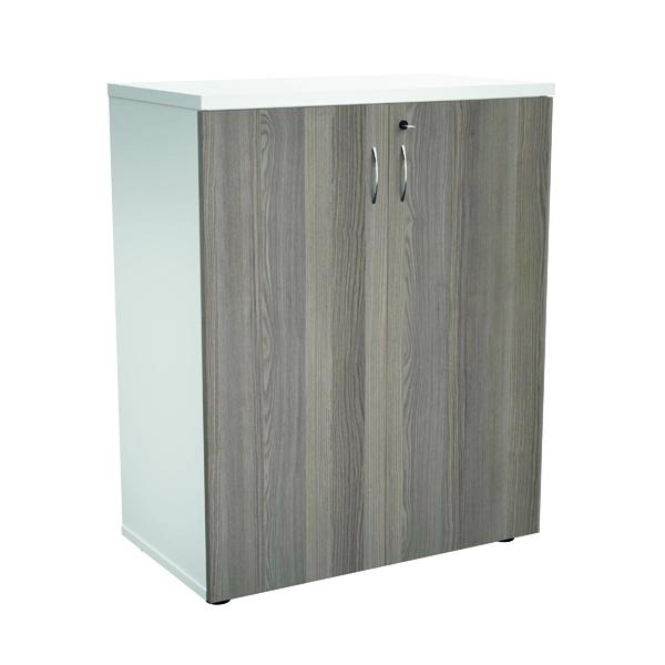 Jemini 1000 Wooden Cupboard 450mm Depth White/Grey Oak