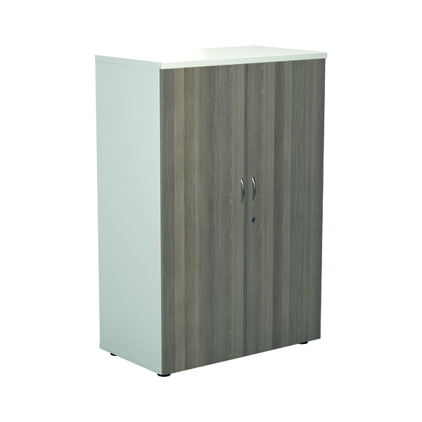 Jemini 1200 Wooden Cupboard 450mm Depth White/Grey Oak