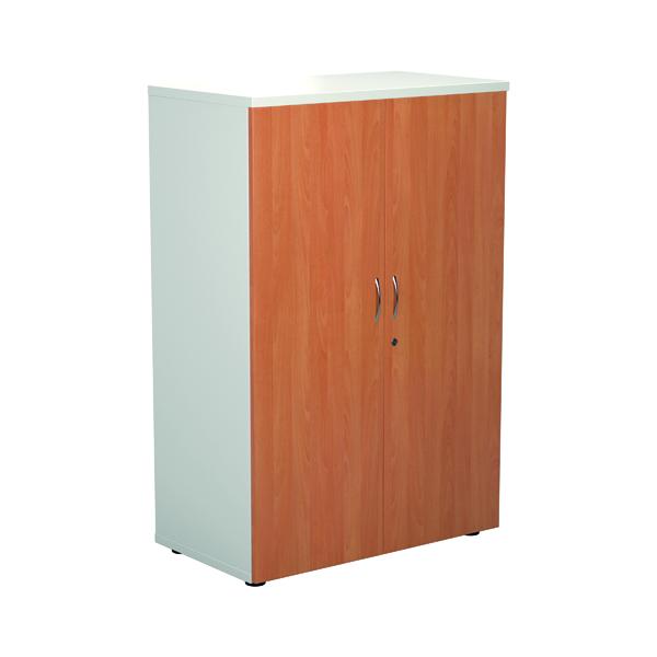 Jemini 1600 Wooden Cupboard 450mm Depth White/Beech