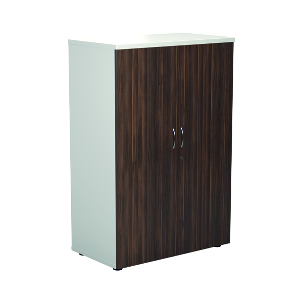 Jemini 1600 Wooden Cupboard 450mm Depth White/Dark Walnut