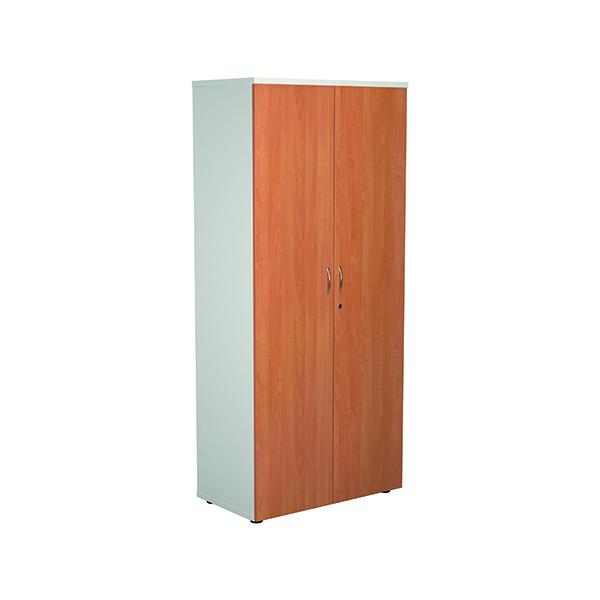 Jemini 1800 Wooden Cupboard 450mm Depth White/Beech