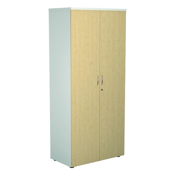 Jemini 1800 Wooden Cupboard 450mm Depth White/Maple