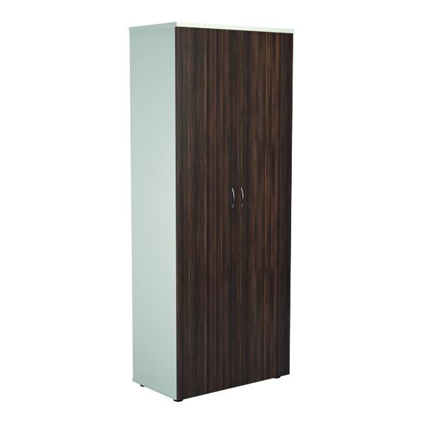 Jemini Wooden Cupboard 800x450x2000mm White/Dark Walnut