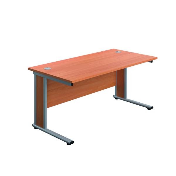 Jemini Double Upright Wooden Insert Rectangular Desk 1400x600mm Beech/Silver