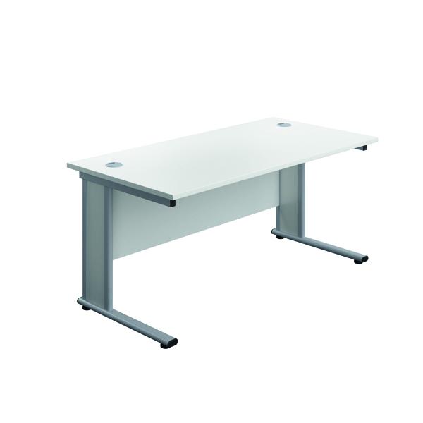 Jemini Double Upright Wooden Insert Rectangular Desk 1400x600mm White/Silver