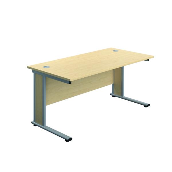 Jemini Double Upright Wooden Insert Rectangular Desk 1400x600mm Maple/Silver
