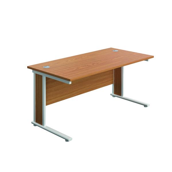 Jemini Double Upright Wooden Insert Rectangular Desk 1400x600mm Nova Oak/White