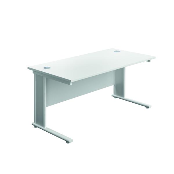 Jemini Double Upright Wooden Insert Rectangular Desk 1400x600mm Dark White/White