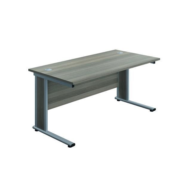 Jemini Double Upright Wooden Insert Rectangular Desk 1800x600mm Grey Oak/Silver