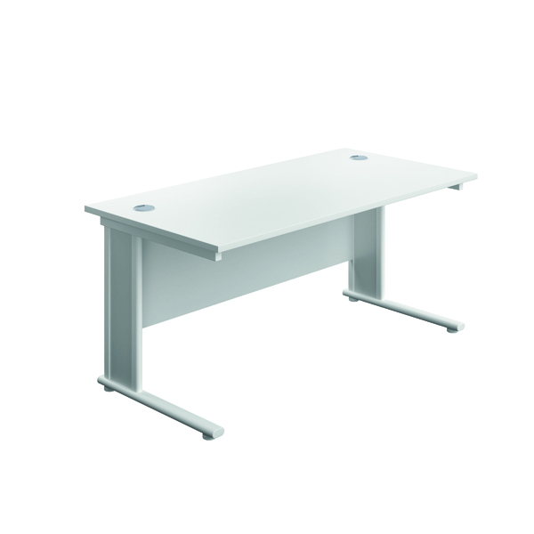 Jemini Double Upright Wooden Insert Rectangular Desk 1600x800mm White/White