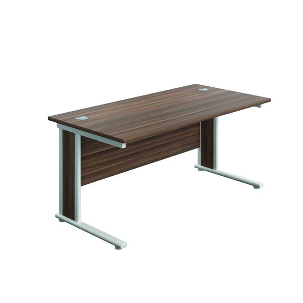 Jemini Double Upright Wooden Insert Rectangular Desk 1600x800mm Dark Walnut/White