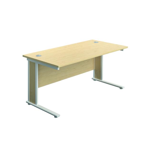 Jemini Double Upright Wooden Insert Rectangular Desk 1800x800mm Dark Maple/White