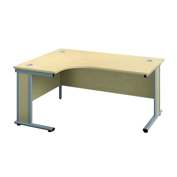 Jemini Double Upright Wooden Insert Left Hand Radial Desk 1600x1200mm Maple/Silver