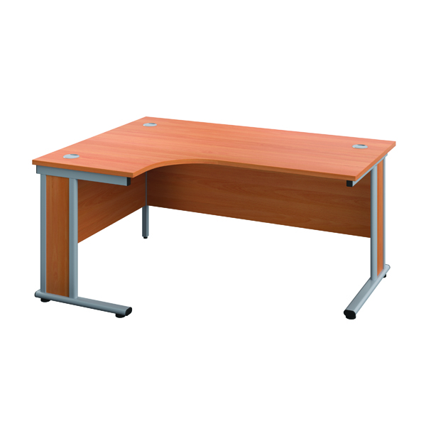 Jemini Double Upright Wooden Insert Right Hand Radial Desk 1600x1200mm Beech/Silver