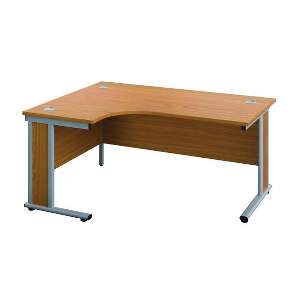 Jemini Double Upright Wooden Insert Right Hand Radial Desk 1600x1200mm Nova Oak/Silver