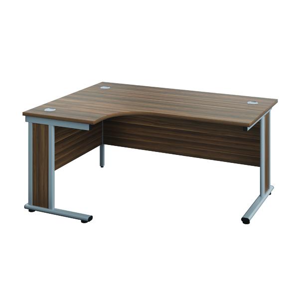 Jemini Double Upright Wooden Insert Right Hand Radial Desk 1600x1200mm Dark Walnut/Silver