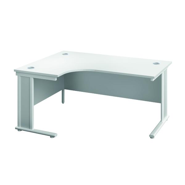Jemini Double Upright Wooden Insert Left Hand Radial Desk 1600x1200mm White/White