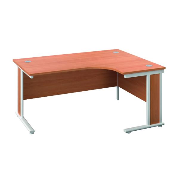 Jemini Double Upright Wooden Insert Right Hand Radial Desk 1600x1200mm Beech/White