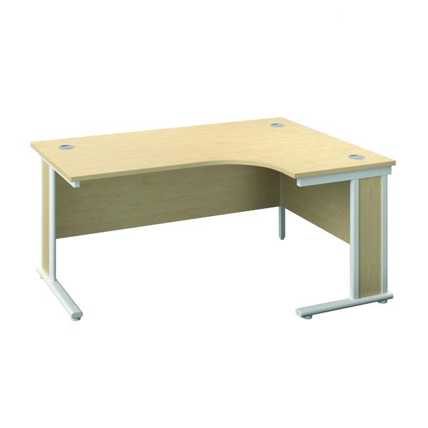 Jemini Double Upright Wooden Insert Right Hand Radial Desk 1600x1200mm Maple/White