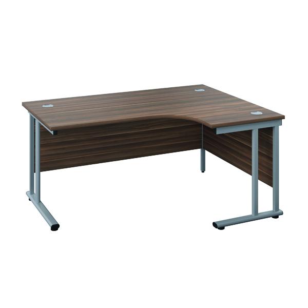 Jemini Double Upright Wooden Insert Right Hand Radial Desk 1600x1200mm Dark Walnut/White