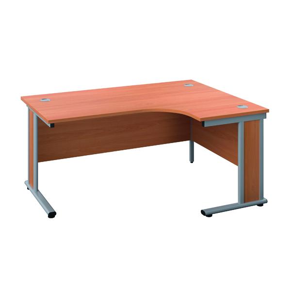 Jemini Double Upright Wooden Insert Right Hand Radial Desk 1800x1200mm Beech/Silver