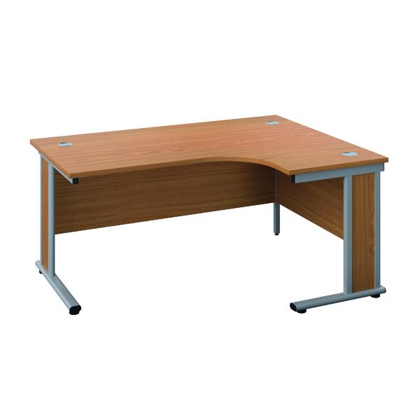 Jemini Double Upright Wooden Insert Right Hand Radial Desk 1800x1200mm Nova Oak/Silver