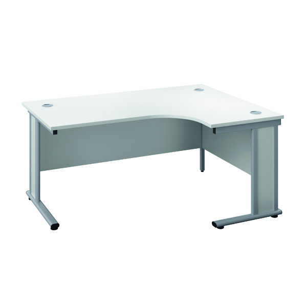 Jemini Double Upright Wooden Insert Right Hand Radial Desk 1800x1200mm White/Silver