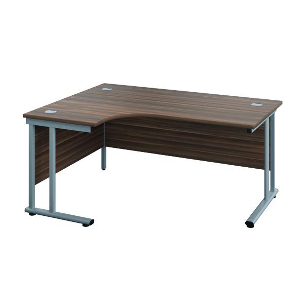 Jemini Double Upright Wooden Insert Left Hand Radial Desk 1800x1200mm Dark Walnut/White