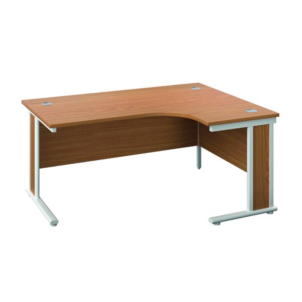 Jemini Double Upright Wooden Insert Right Hand Radial Desk 1800x1200mm Nova Oak/White