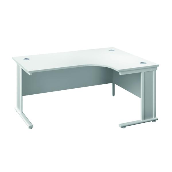 Jemini Double Upright Wooden Insert Right Hand Radial Desk 1800x1200mm White/White