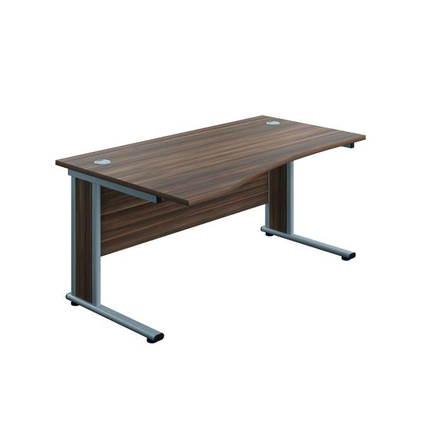 Jemini Double Upright Wooden Insert Left Hand Wave Desk 1600x1000mm Dark Walnut/Silver