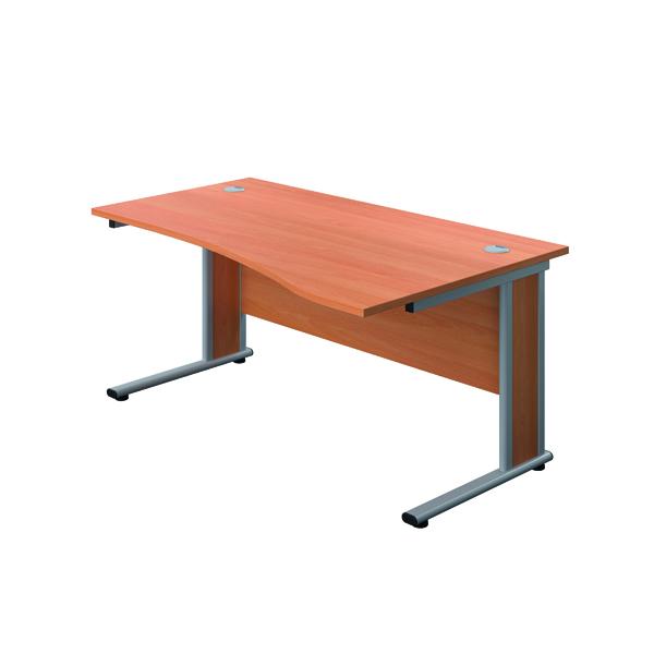 Jemini Double Upright Wooden Insert Right Hand Wave Desk 1600x1000mm Beech/Silver