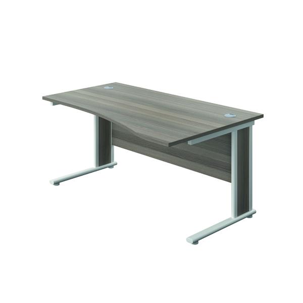 Jemini Double Upright Wooden Insert Right Hand Wave Desk 1600x1000mm Grey Oak/White